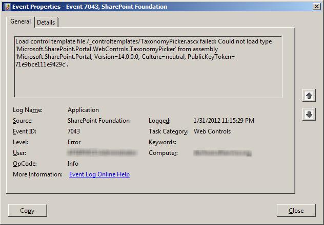 TaxonomyPicker Error on Windows Event Logs